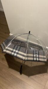 NWTS Burberry Children Kids Nova Charcoal Check Trim Transparent Dome Umbrella