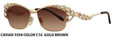 Caviar Sunglasses 5594 C16 Champagne Series Gold Frame Topaz Stones New Italy