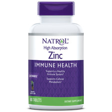 Natrol Zinc High Absorption Tablets, Natural Pineapple - 60 Count - Chewable