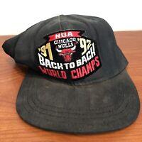 Chicago Bulls Hat Snapback Cap Black Vintage 90s Jordan Back 2 Back 1992 NBA MJ