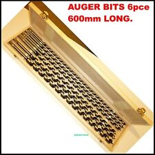 AUGER BITS 600mm LONG  6pc  SET ( 10 TO 20 mm ) -NEW IN WOOD CASE