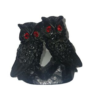 """Vtg Handcrafted Coal Carved Owl Pair With Glowing Red Eyes Figurine Birds 3.5"""""""