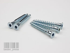 6.4x50mm / 7x50mm Möbelschrauben Eckverbindungsschrauben Verzinkt Schrauben