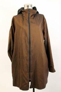 MYCRA PAC Black Brown REVERSIBLE Jacket Full Zip Removable Hood Oversized S M 1