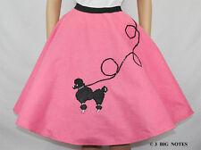 "5 PC Hot PINK FELT 50's Poodle Skirt Adult Size XL/3X Waist 40""-48"" Length 25"""