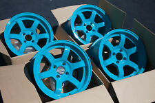 Used Set Rota Grid Concave 15x8 4x100 +20mm Teal Blue Wheels Rims (Set of 4)
