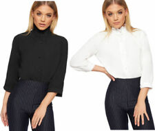 Collared Regular Size Tops & Blouses for Women with Ruffle