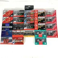 LOT OF 23 NIP MAXELL, TDK, JVC Sony BASF BLANK AUDIO CASSETTE TAPES #F