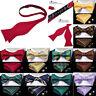Mens Silk Bowtie Gold Black Purple Paisley Hanky Cufflinks Self Bow Tie Set