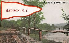 Madison New York~Dirt Road by Lake~Rustic Rail~Pennant 1920