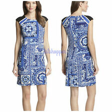 NWT 12 $139 Muse Cap Sleeve Printed Sheath Dress Day to Night Jersey Knit