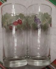 pfaltzgraff Jamberry 12oz Glassware Tumbler Drinking Glass set of 2 EXCELLENT d8
