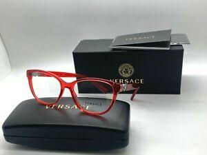 Versace Eyeglasses VE 3273 5307 TRANSPARENT RED Frames 54-16-140MM NIB