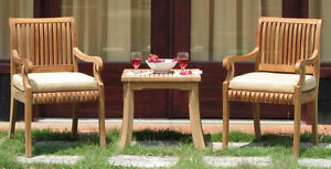 Giva A-Grade Teak 3pc Dining Chair Side End Table Set Outdoor Garden Patio New