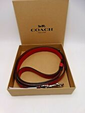 Coach Red Leather/Silver Coach Dog Leash Large New In Box & Tags Attached