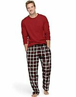 Hanes Men's Jersey Flannel Sleep Set  in Red Long Sleeve Shirt Red Green Plaid