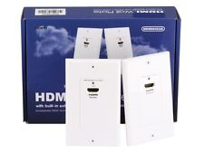 New HDMI Over CAT5E / CAT6 Extender Wall Plate Pair - Single Port 1P - White