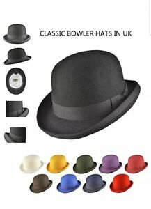 Classic bowler hat hand made of 100% premium wool felt many colours and sizes UK