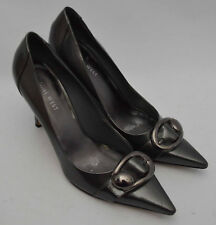 Ladies Nine West Graphite Metalic Grey Patent Shoes Size UK 6