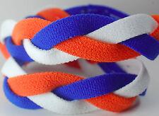 Royal Blue Orange White Braided Hair Band Head Under Headband Armour Non Slip