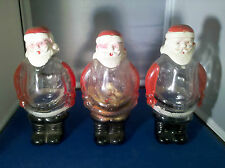 (Lot of 3) Vintage J. H. Millstein Santa Claus Glass Containers Jeannette PA
