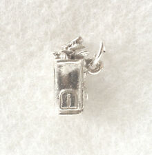 Solid GOLF BAG and CLUBS  -  925 sterling silver 3D sport charm pendant