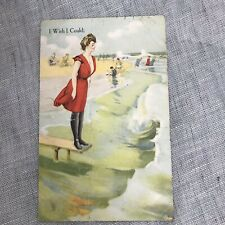 Vintage Postcard 1913 Swimsuit Beach 1 Cent Stamp Ephemera Antique Paper
