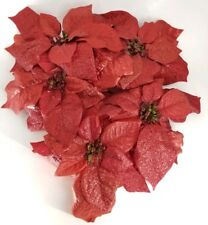 5 Large Glittered Metallic Poinsettia Clip-On Artificial Fake Flower Red lot Set