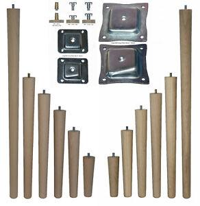 Single Beech/Oak 150-690mm Tapered Leg - CHOOSE WOOD, FIXING TYPE AND SIZE