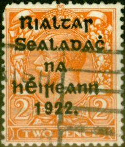 Ireland 1922 2d Bright Orange SG29a Die II Good Used