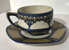 GORGEOUS GERMAN ART NOUVEAU METTLACH CUP AND SAUCER CIR EARLY 1900S