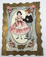 Vtg Valentine Gold Gilt Scallop Romantic Couple Pink Edge Poem Inside Whitney