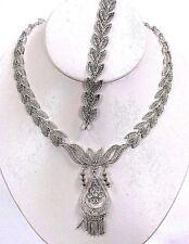 Sterling Silver Leaf Link Necklace & Bracelet Set
