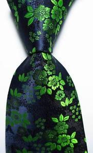 New Classic Floral Black Green JACQUARD WOVEN 100% Silk Men's Tie Necktie