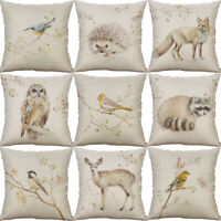 Animal Print Cotton Linen Pillow Case Cushion Cover Waist Cover Home Decor