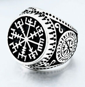 Viking Stainless Steel Classic Celtic Norse Rune Vegvisir Ring (Size O - Z)