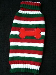 Simply Dog Red Green Stripe Dog Sweater Bone Size XX Small NEW