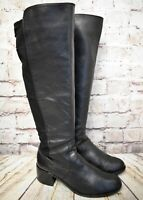 Womens Vince Camuto Black Leather Pull On Mid Heel Knee High Boots UK 5 EUR 38