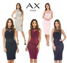 AX Paris Womens Crochet Top Midi Bodycon Dress, Ladies Evening Wear
