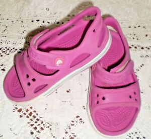 Crocs girls pink strappy rubber shoes, size C7