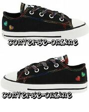 Baby Girls Infants CONVERSE All Star HEARTS OX Black Trainers Shoes 21 SIZE UK 5