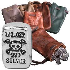 5 oz Bag of Silver - Leather MPM Pirate Pouch -10 Half Oz Bars-Skull & Crossbone