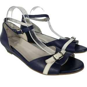 Ziera size 44 Navy Blue and White Low Wedge Open Toe Sandal Ankle Strap