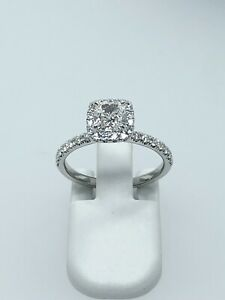 Platinum Cushion Halo Diamond Engagement Ring GIA 0.81ct G VVS2