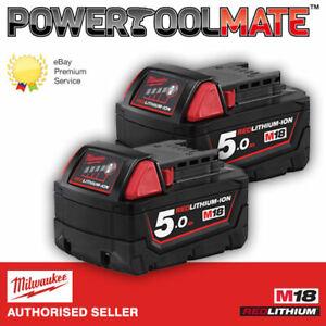 Milwaukee M18B5 X2 *TWIN PACK* 18v 5.0Ah Li-ion Batteries - Genuine Uk Stock