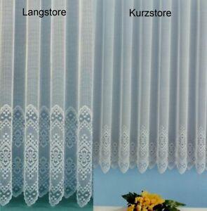 Gardine Vorhang Store aus edlem Jacquard mit schöner großer Bordüre weiß Typ232