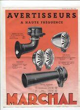 N°7825 /  prospectus avertisseur à haute fréquence MARCHAL  1936