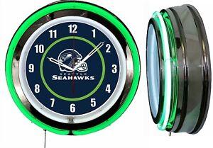 "Seattle Seahawks 19"" Green Neon Clock Man Cave Game Room Garage Bar Football"