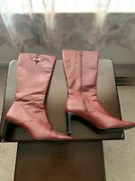 Red Square Toe Women's Boots Enzo Angiolini Leather Mid Calf ZipVintage Size 8.5