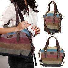 Damen Tasche Echtleder Canvas Shopper Schultertasche Handtasche Vintage